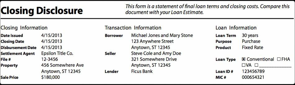 CFPB Closing Disclosure replacing HUD-1 Form